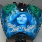 airbrushed fuel tank lady's face