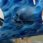 airbrush flames and skull on helmet