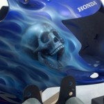 airbrush flames and skull on helmet