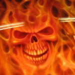 custom airbrush skull in flames